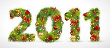 free vector Christmas ornaments consisting of digital vector
