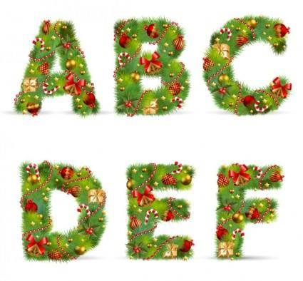 free vector Christmas ornaments composed of letters 01 vector
