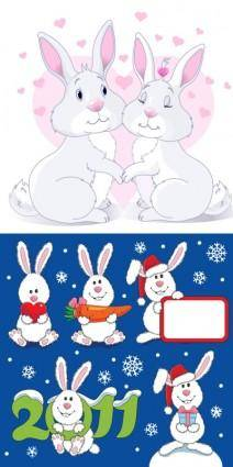 free vector Lovely christmas rabbit vector