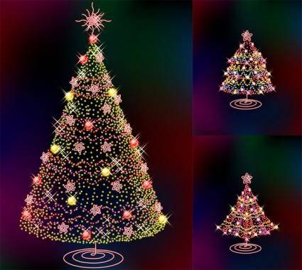 Three glittering christmas tree vector