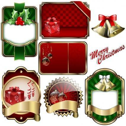 free vector Christmas badge shield vector label