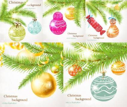 Christmas tree ornaments vector