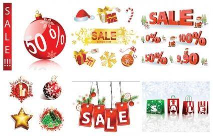 free vector Christmas sales discount decorative elements vector