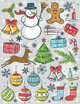 free vector Christmas vector cute handpainted items