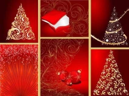 free vector Red christmas graphic elements vector
