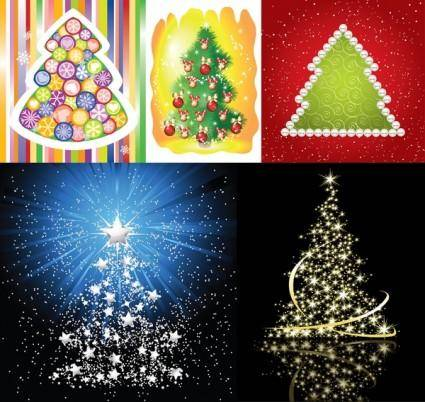 free vector 5 beautiful christmas tree vector