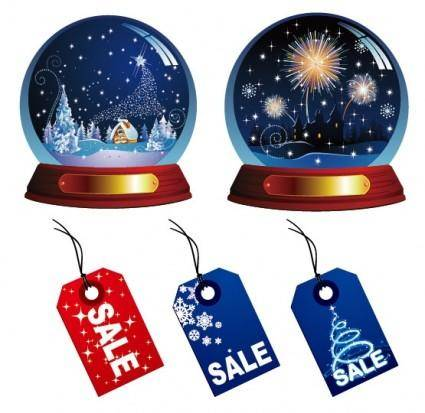 Christmas crystal ball and sales tag vector