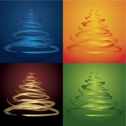 free vector Fourcolor christmas tree vector