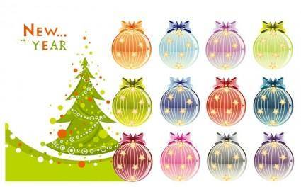 Christmas tree and decorative ball vector
