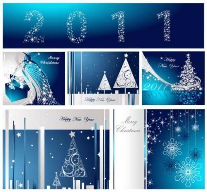 Blue christmas postcard template vector