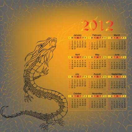 free vector 2012 year of the dragon calendar vector