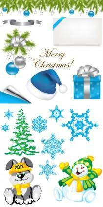 free vector 2 sets of christmas element vector