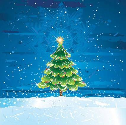 free vector Snow christmas tree vector