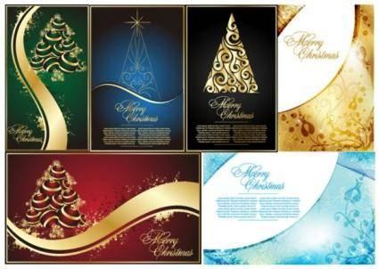 free vector Golden christmas tree vector
