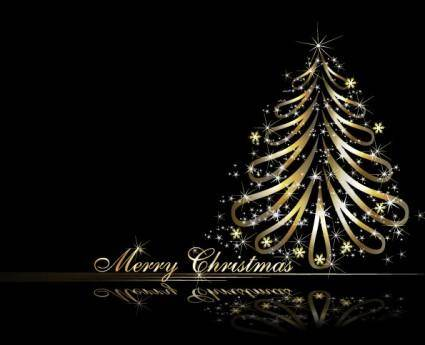 free vector Golden christmas tree vector