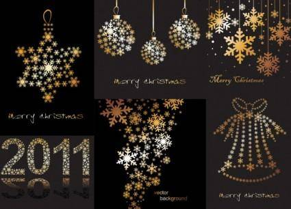 Christmas decorations snowflakes composed of vector