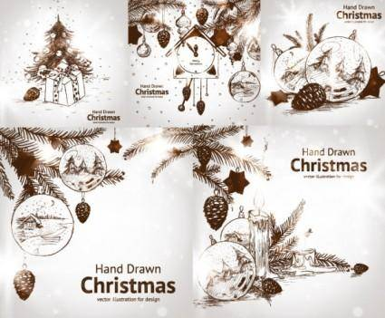 free vector Handpainted style christmas decorations vector