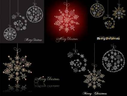 Christmas snowflake ornaments vector