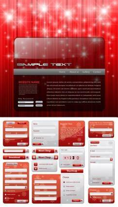 free vector Christmas style web design elements vector