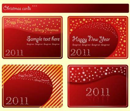 Christmas and new year 2011 card vector