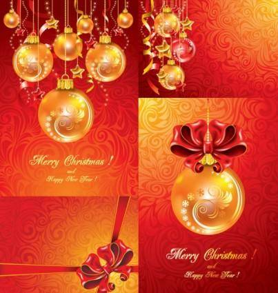 free vector Christmas balls hanging with ribbons fine vector