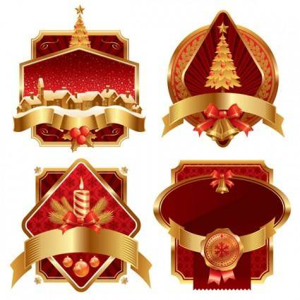 free vector Vector gold christmas label