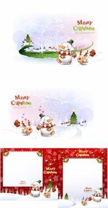 free vector Cute snowman and santa claus 01 christmas vector