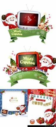 Cute snowman and santa claus 02 christmas vector