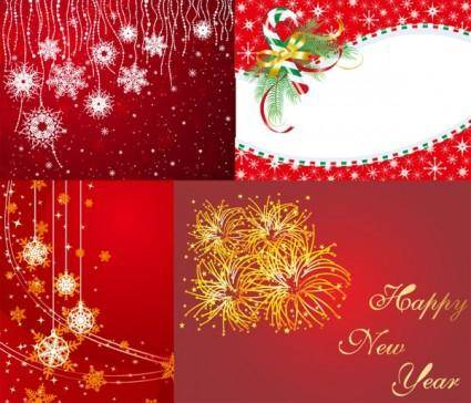 4 red christmas and new year vector