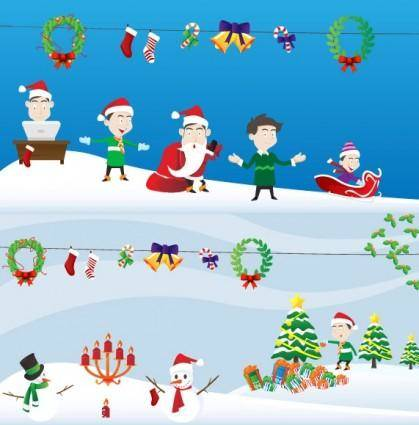 free vector Lovely christmas element vector and scenes