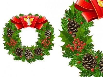 free vector Christmas wreath cool texture vector