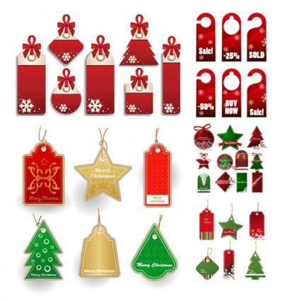 Christmas sales discount tag vector