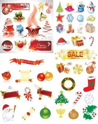 free vector Christmas decorative elements vector