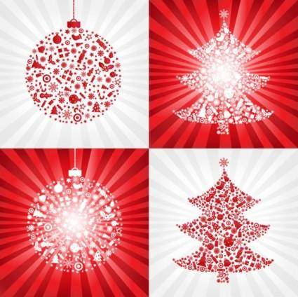 free vector Red christmas ball with christmas tree - vector