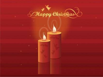Free Shining Christmas Candles Vector Illustration
