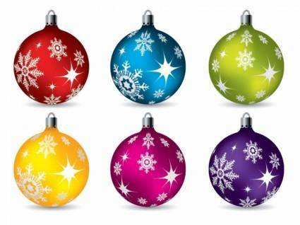 Colorful Christmas Ball Ornaments Vector