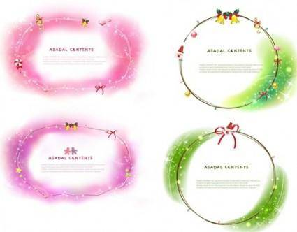 4 Christmas Fantasy Border Vector Images