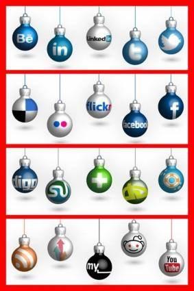 free vector Social Media Christmas Balls