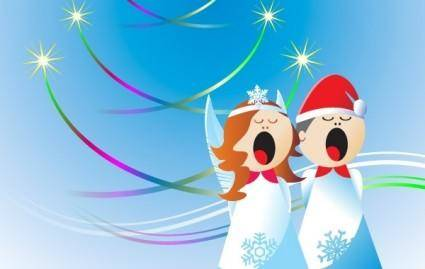 free vector Christmas Angels Free Vector Design