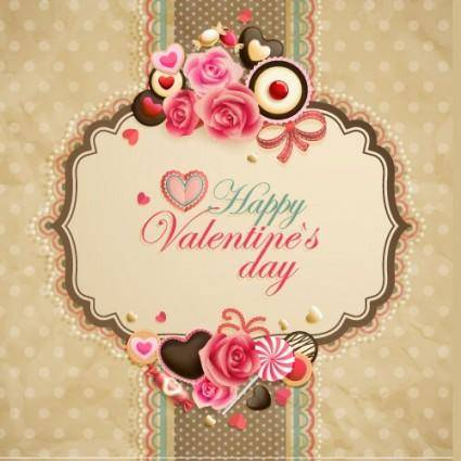 Oldfashioned valentine cards 05 vector
