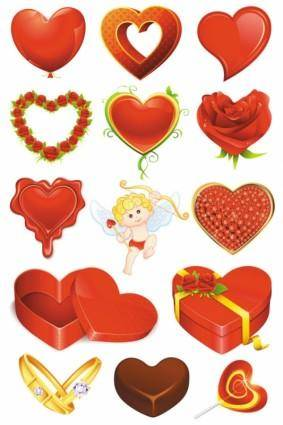 Elements of romantic valentine39s day 01 vector