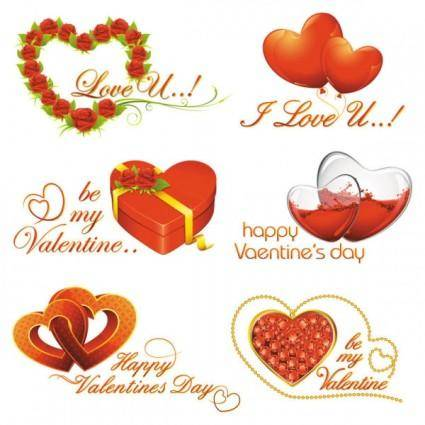 free vector Elements of romantic valentine39s day 02 vector