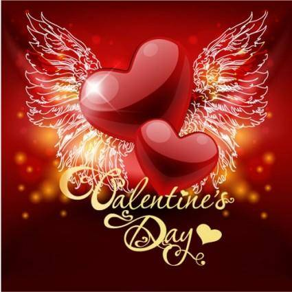 Retro valentine39s day greeting card 02 vector