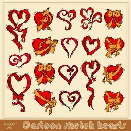 Exquisite handpainted red heart 02 vector