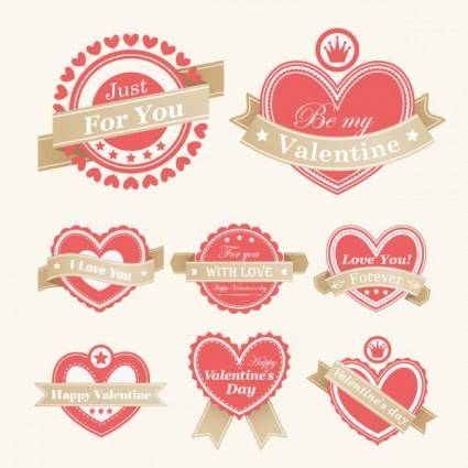 free vector Valentine labels vector