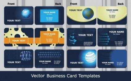Sense of business card templates technology blue 01 vector