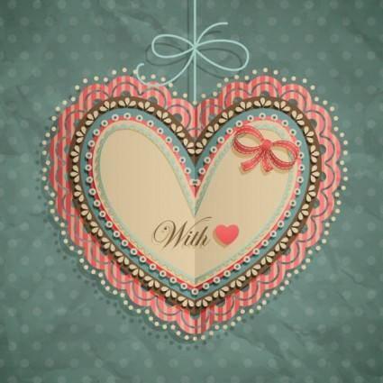 free vector Valentine39s day heartshaped tag 02 vector