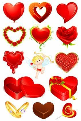 Valentine39s day romantic elements 02 vector