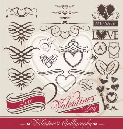 Europeanstyle heartshaped lines vector