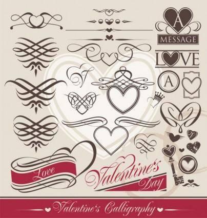 free vector Europeanstyle heartshaped lines vector